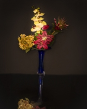 flowers and blue vase